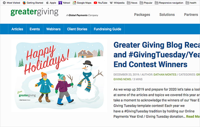 Holiday Greeting Card in Greater Giving blog